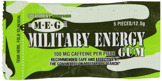 Military chewing gum with caffeine