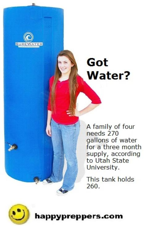 Water storage tank holds 260 gallons