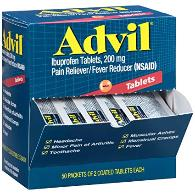 Advil tablets in mini packages