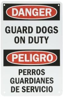 Guard dog danger sign