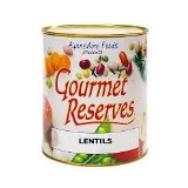 Lentils in a #10 can for food storage