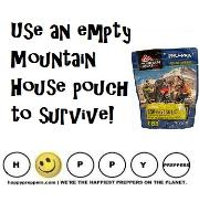 How to use an empty mountain house pouch to survive