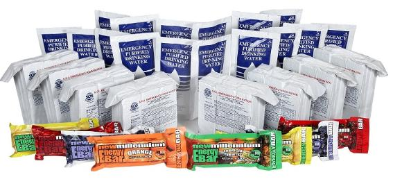 Emergency Ration Kit water and emergency tabs