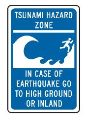 Tsuanmi hazard zone compliance sign