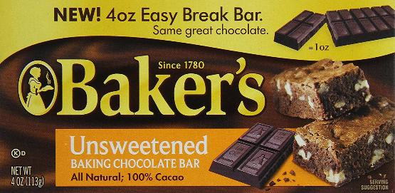 Baker's unsweetened Chocolate