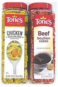 Tones chicken and beef bouillon cubes