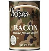 Three cans Yoders Bacon