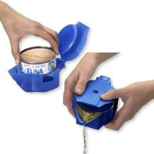 Tuna can tool keeps hands odor free and dry while draining liquids