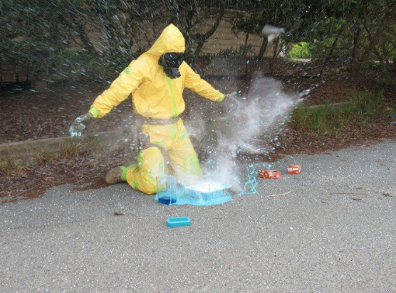 Chemical suit in action