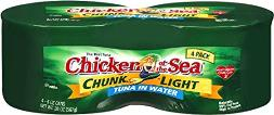 Chunk light Tuna in Water - four pack