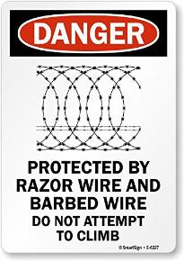 Concertina wire sign