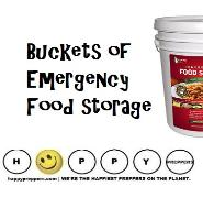 Buckets of emergency food storage