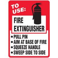 Sign: how to use a fire extinguisher