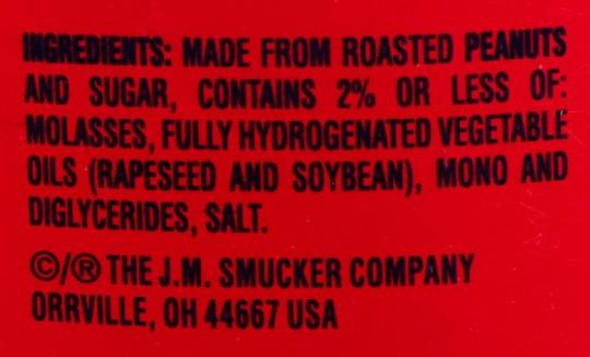 Fully Hydrogenated proof on Jif peanut butter