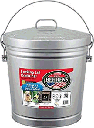Behren's Locking Lid galvanized steel pet food container
