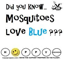 Page 176 of How to Stay Alive in the Woods says mosquitoes love blue