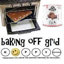 Baking off grid with emergency food storage
