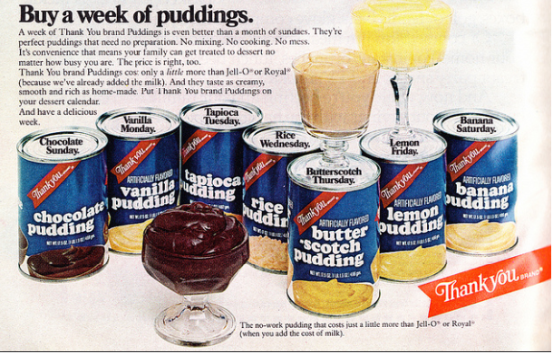 Thank you pudding in a can - vintage advertisement