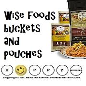 Wise Foods buckets and pouches and survival kits